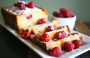 Pound Cake with Raspberries